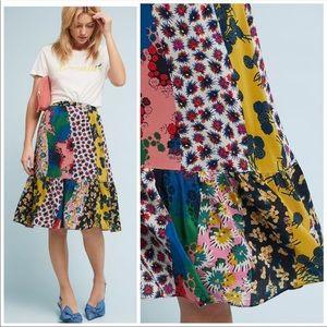 🆕NWT Anthropologie silk floral midi skirt